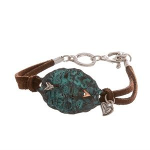 Jewelry - Rustic Leather Silver Bracelet Cute Rustic Boho